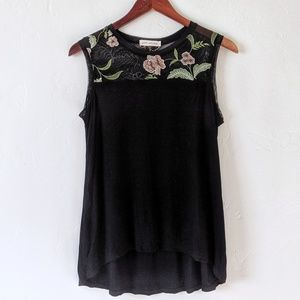 Anthropologie Floral Net Tank